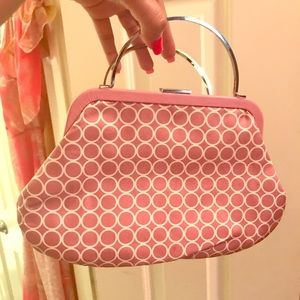 Pink and white polka dot clutch, silver hardware
